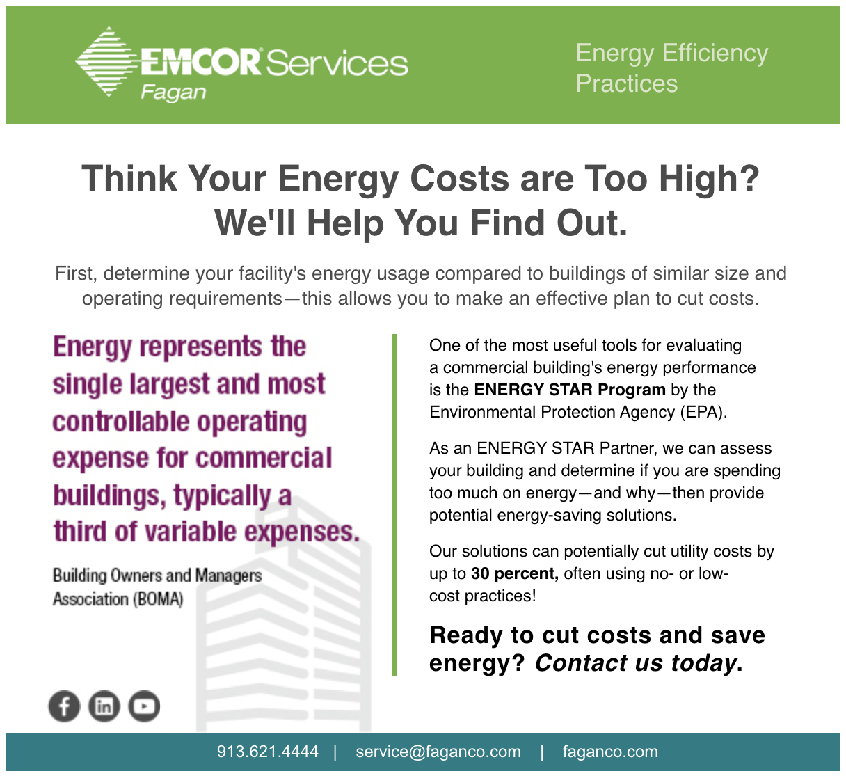 Think Your Energy Costs are Too High? We'll Help You Find Out.